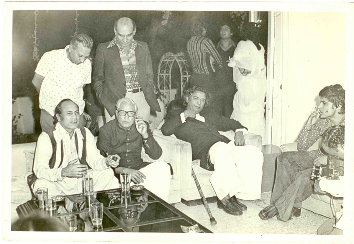"""A rare pic of famous Urdu Poet and Film Lyricist  Kaifi Azmi with """"Mehdi Hasan """" sahab ,Majrooh Sultanpuri ,Yash Chopra and Javed Akhtar can also be seen  in the pic ."""