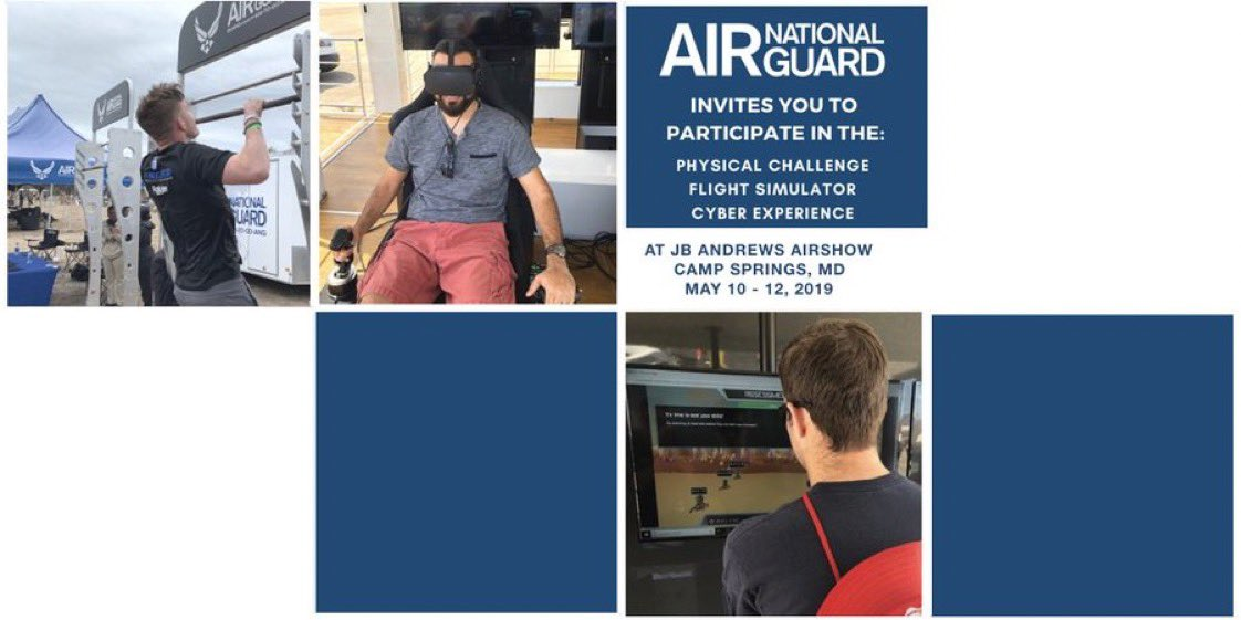 Fun for Everyone! Come out to the @JBAAirShow and meet the @dcang113th. Take on the ANG Cyber / Physical Challenge & Pilot the ANG Flight Simulator! May 11-12 @jointbaseandrews #ANGEvents #GoANG #AI #Cyber #FlightSimulator #WeekendVibes #Airshow