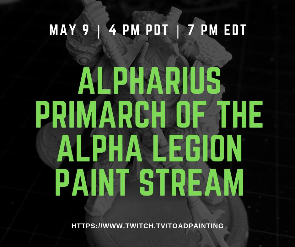 Come swing by between 4 and 6 to catch more work on Alpharius. Getting closer! I'm always happy to answer you hobby and painting questions!  https://www.twitch.tv/toadpainting   #gamesworkshop #warmongers #Warhammer #40k #warhammer40k #PaintingForgeWorld #paintingwarhammer