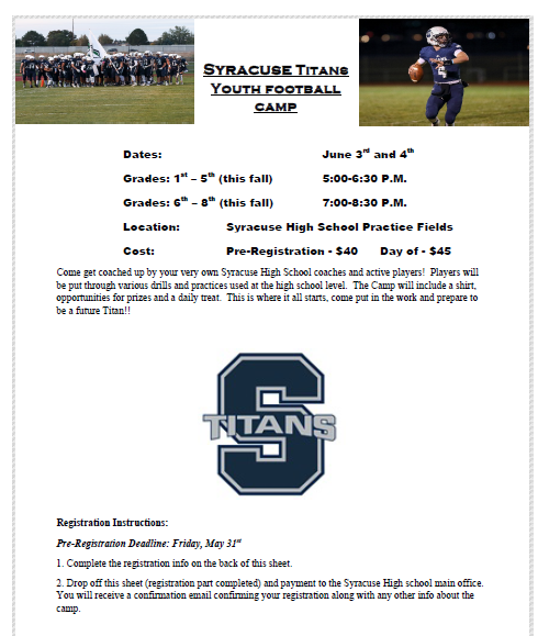 Sign up for the Syracuse Titans youth football camp now! Sign up in the main office. @CuseTitans_FB @SyracuseStrong