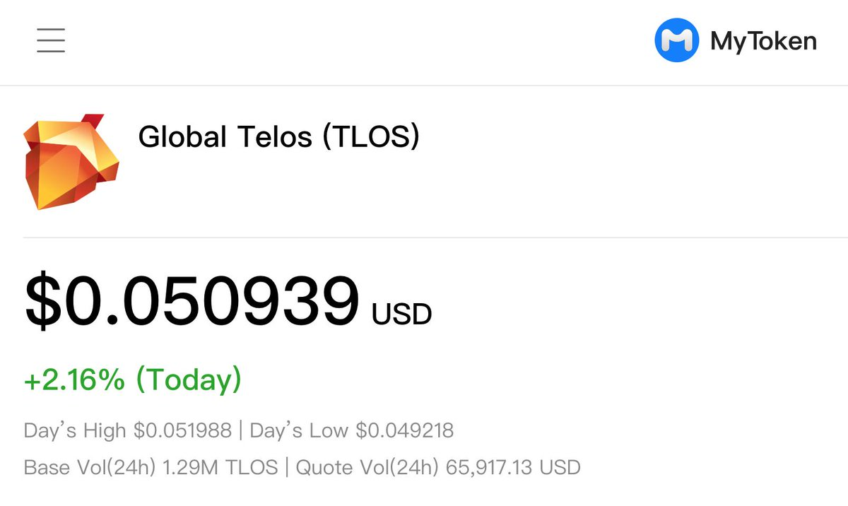 #GoTelos! @MyTokenJP - a popular multi-platform realtime #cryptocurrency price tracking and management service in #China 🇨🇳 with over 400,000 users (!) has just listed #TLOS! @MyTokenJP is available for #iOS, #Android, #macOS, #Windows 😎 Learn more: https://bit.ly/2LvWiza
