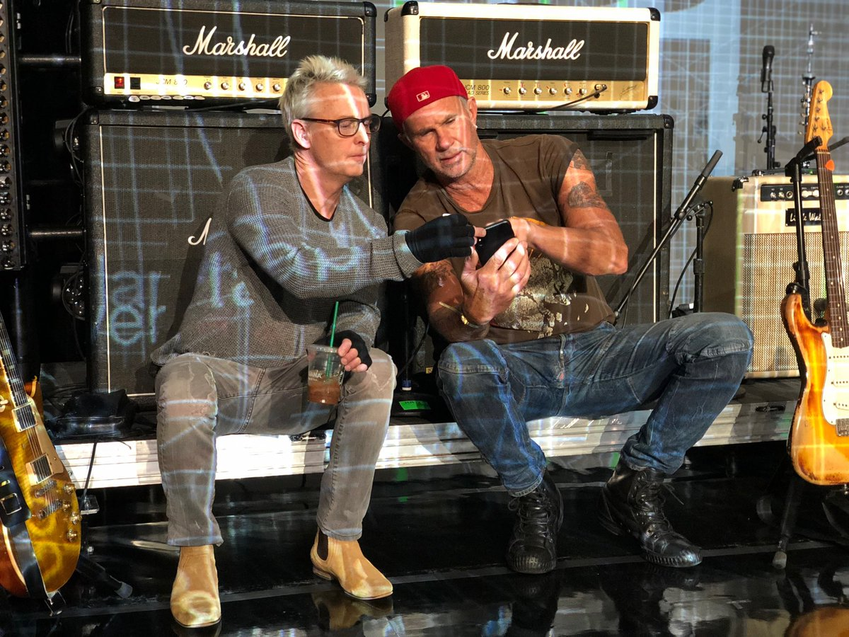 @MikeMcCreadyPJ  and I going over the set list for tomorrow's show. look close, u can see how excited I am.