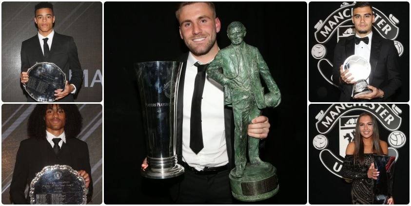 Berikut penghargaan MUFC Player Of The Year: - Sir Matt Busby Player of the Year: @LukeShaw23  - Player's Player of the Season: @LukeShaw23  - Goal of the Season: @andrinhopereira  - Denzil Haroun Reserve Team Player of the Year: @TahithC