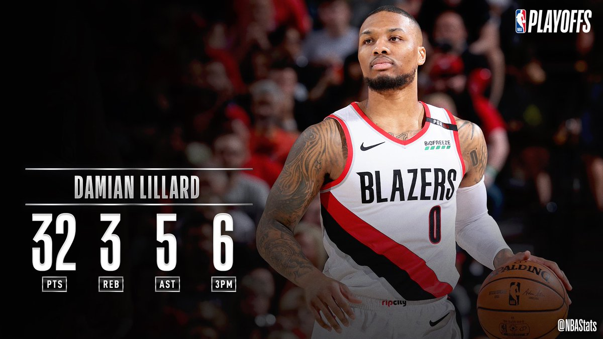 Damian Lillard puts up 32 PTS, 6 3PM, 5 AST, helping the @trailblazers send the series to a Game 7! #SAPStatLineOfTheNight <br>http://pic.twitter.com/7qTP33RRzM