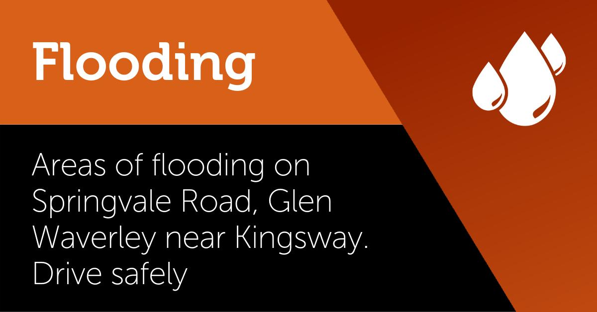 Areas of flooding on Springvale Road, Glen Waverley between the Monash Freeway and High Street Road. A couple of lanes are under water near Kingsway. Never drive into floodwater. Take the time to find an alternative route. #victraffic