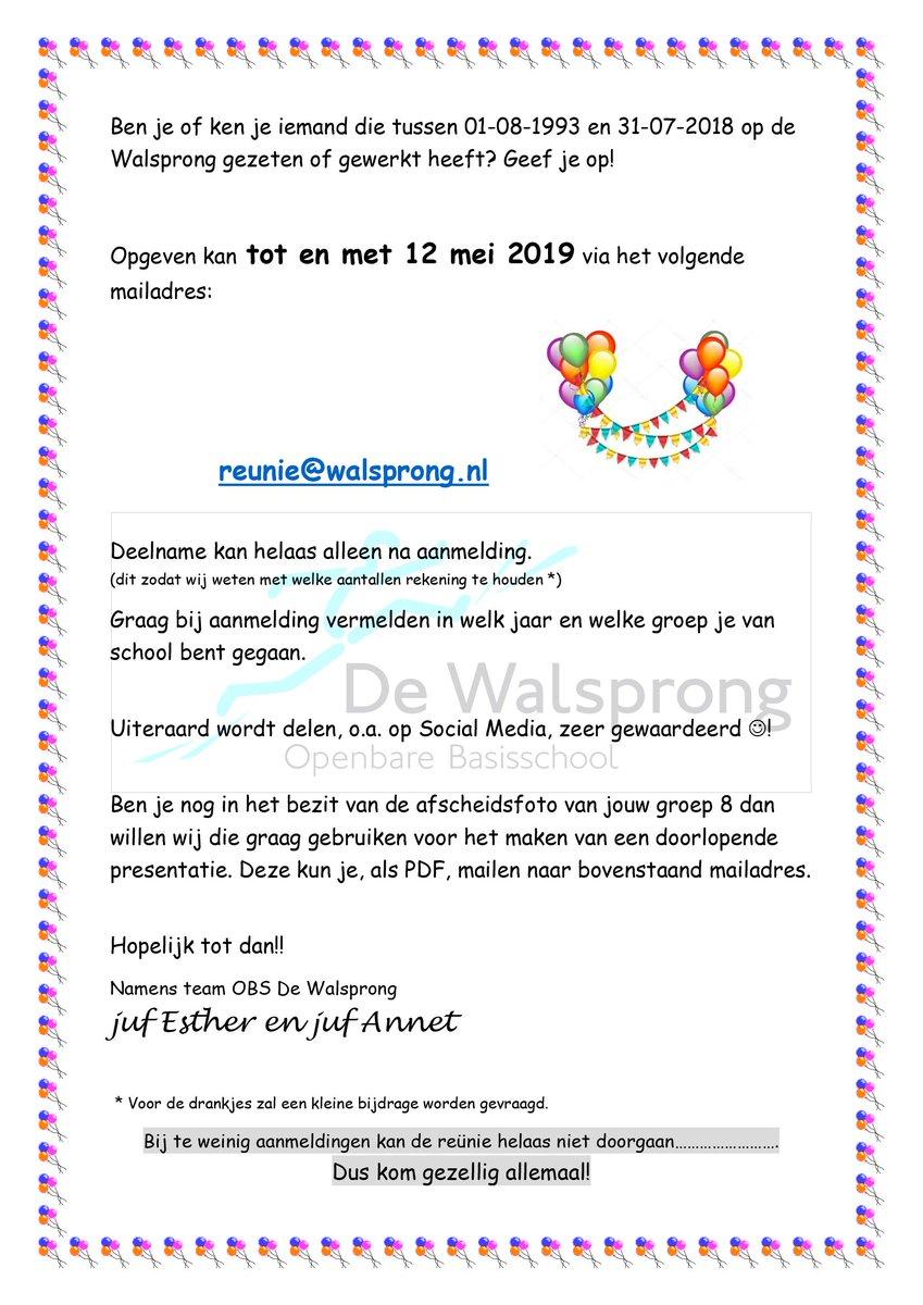 test Twitter Media - Reünie op De Walsprong op vrijdagmiddag 7 juni a.s. van 16 tot 19 uur. Aanmelden kan t/m 12 mei a.s. Nog niet aangemeld en wel zin om te komen? Mail dan naar reunie@walsprong.nl. Als je dit bericht wilt delen, heel graag! https://t.co/Vk9tJhzCij https://t.co/ZMw07sX9yj