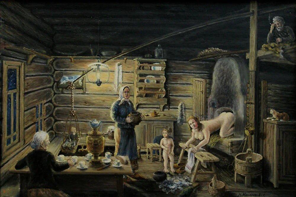 Русская баня в картинках художников