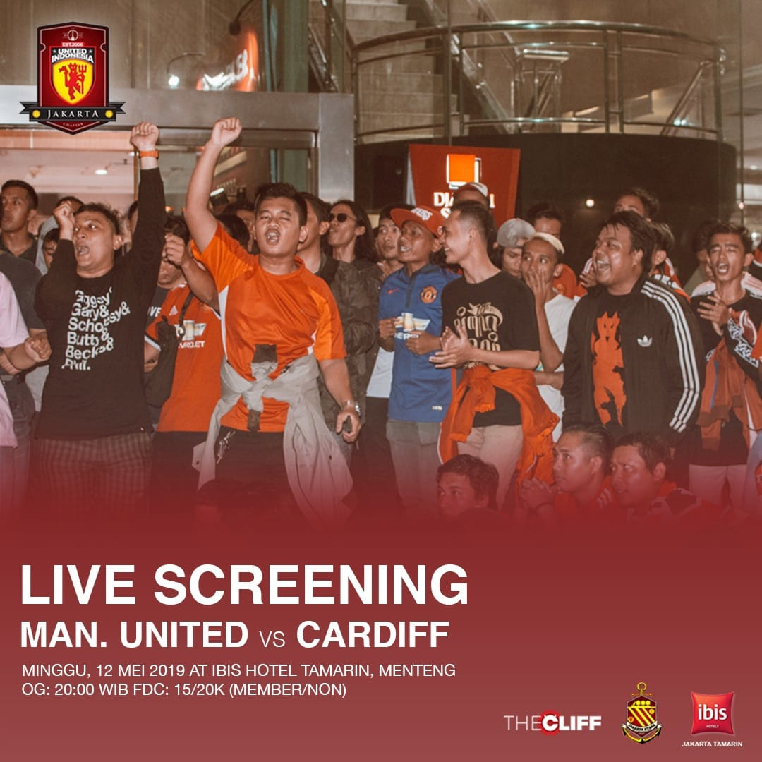 Last #LiveScreening this season! Manchester United vs Cardiff City, @ hotel Ibis Tamarin, Menteng. Open Gate 20.00wib FDC 15/20k member non member.   See youu!!!   #UIJKT