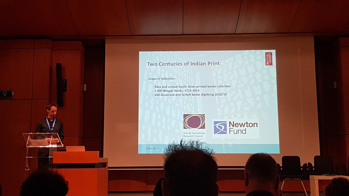 .@TommyID83 presenting on the Two Centuries of Indian Print project & the challenges of OCR that come with it @BL_IndianPrint #DATeCH2019