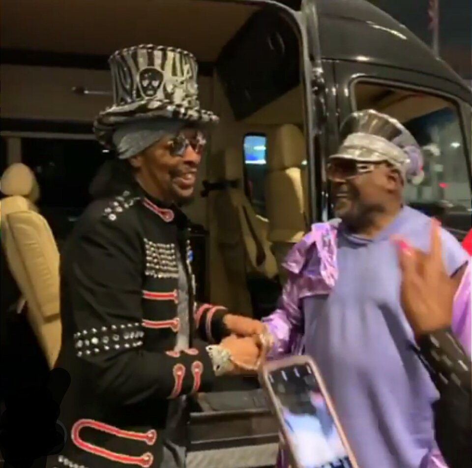 Went to show and a Legends Party breaks out!  #lifetimegrammyaward  @george_clinton   @bootsy_collins   #parlimentfunkadelic #pfunkpowerpins #grammys2019  Thank You Carlon for these magnificent photos  <br>http://pic.twitter.com/LLF65fPLNa