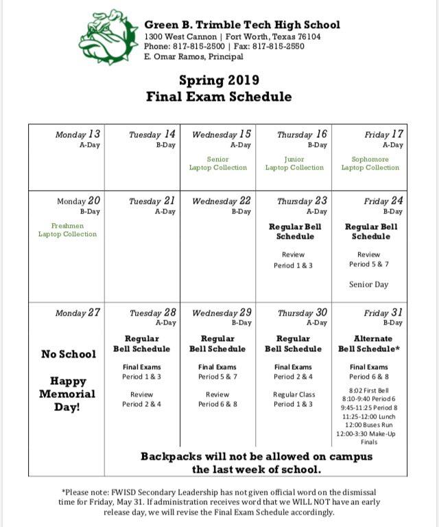 Countdown to finals has begun! Here is the schedule for underclassmen ⬇️ #timetostudy #finalsweek 🤓📚