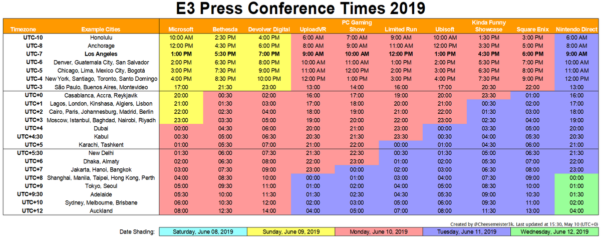 E3 2019 Schedule Cheesemeister on Twitter: