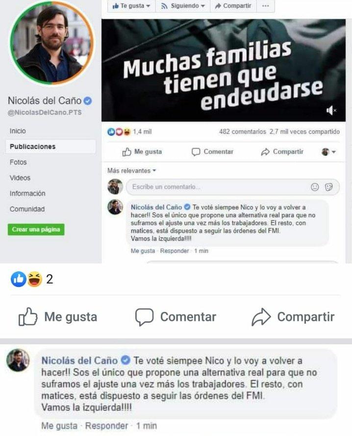 Banco que Nico Del Caño se hable a sí mismo en Facebook y se dé aliento.