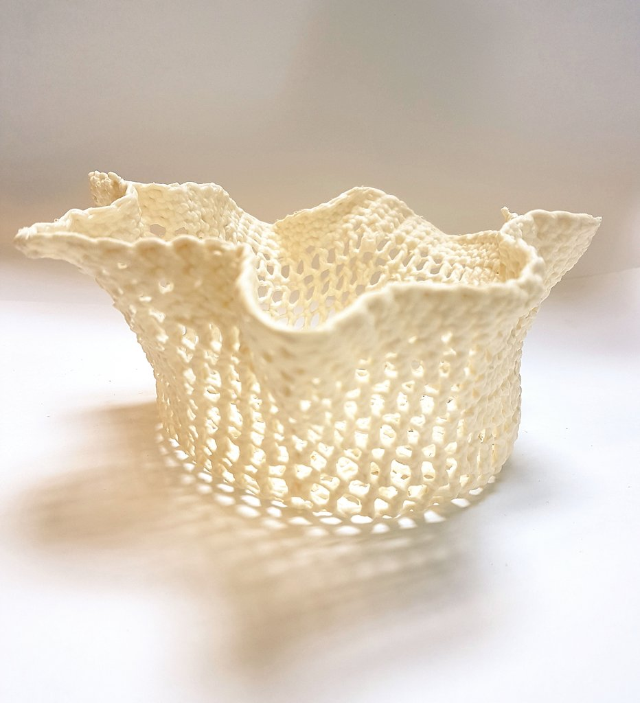 It's out of the kiln in one piece ... how to turn crochet into porcelain