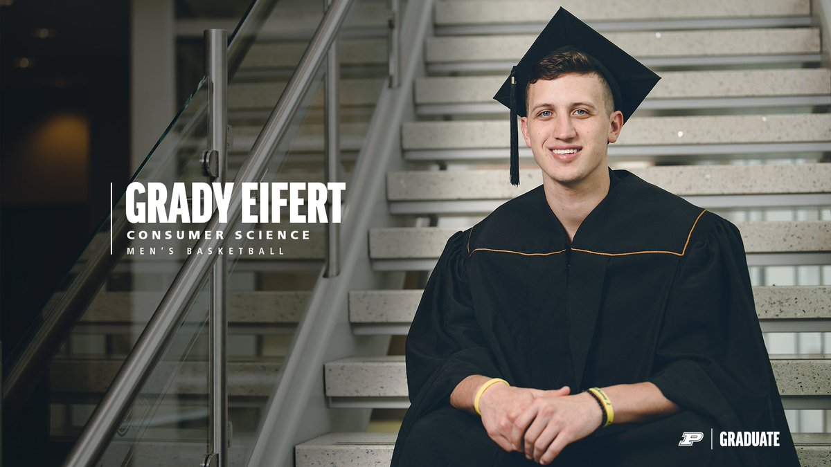 The winningest senior class in @BoilerBall history can add another accolade to their list.   #PurdueGrad   Congrats to @EifertGrady & @Ryan_Cline13 on earning their degrees! #BoilerUp 🚂🎓