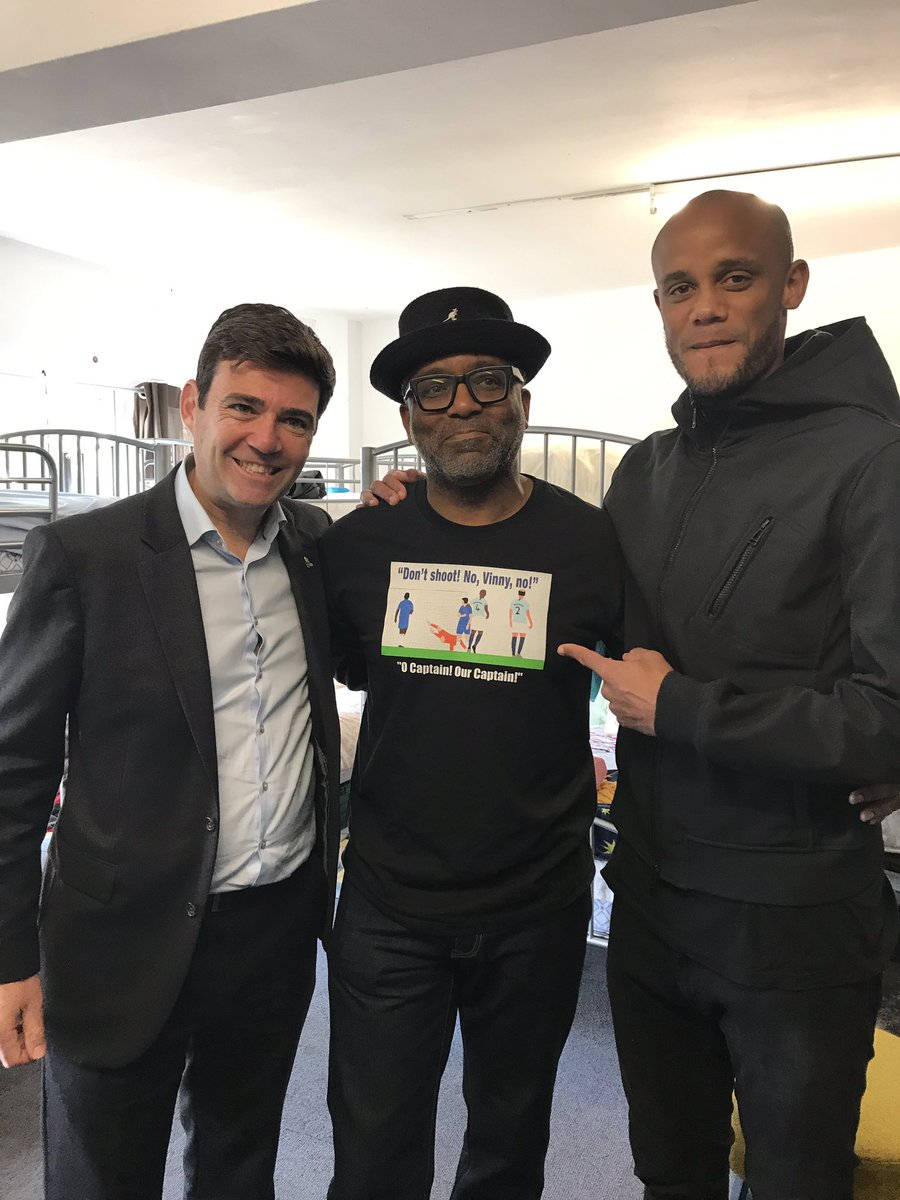 In this of all weeks, brilliant that @VincentKompany found time to do official opening of @SpinMcr. T-shirt got official approval - I think!