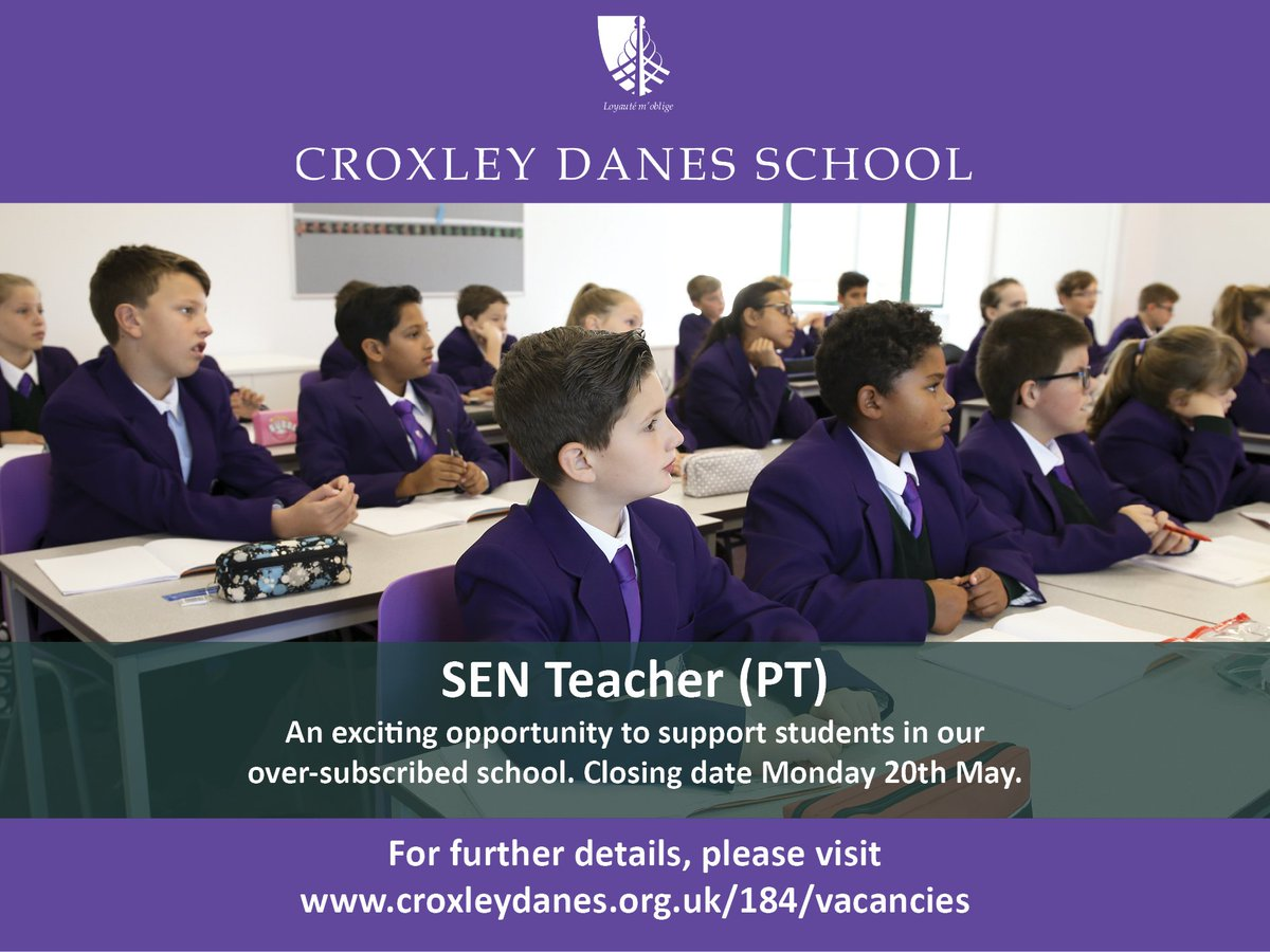 Exciting opportunity to join our new school and support our fantastic students as a part-time SEN teacher. Closing date 20th May 2019. Details: https://t.co/SXVEzb0UwI #teachingvacancyuk https://t.co/KDRegtHW7e