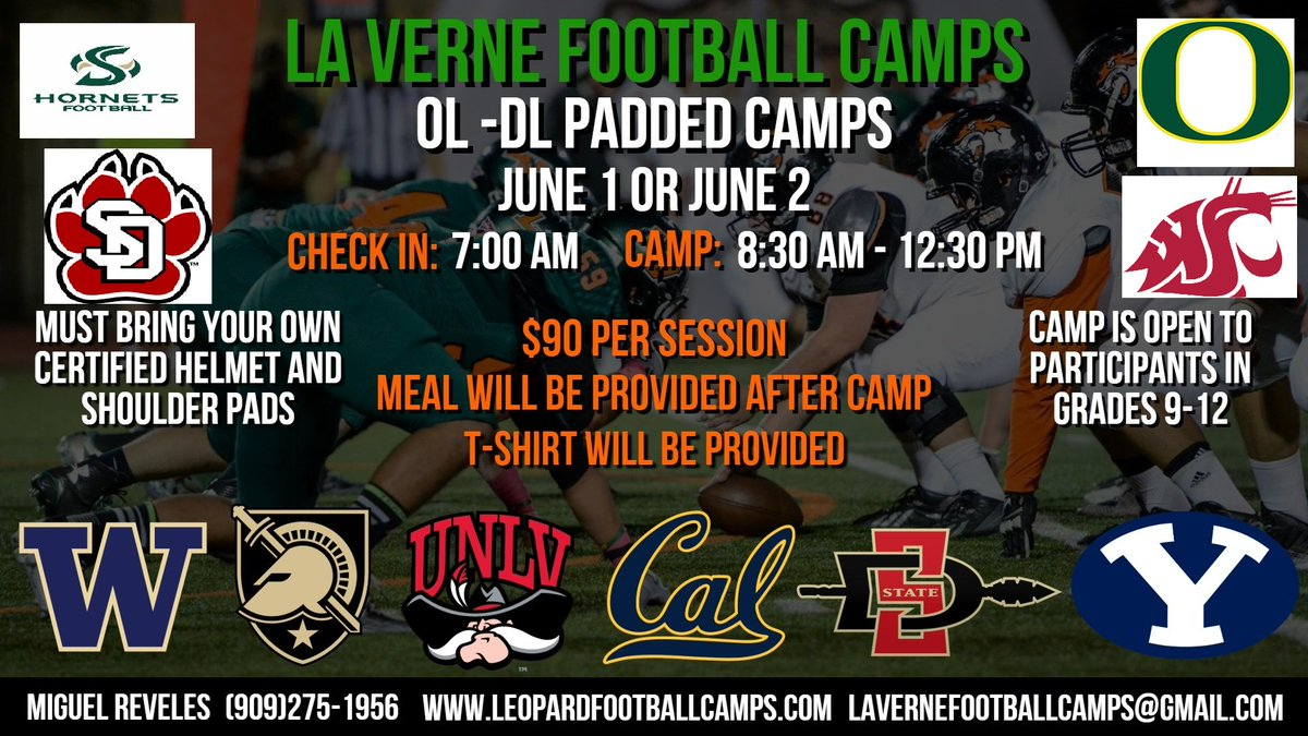 Offensive Line/ Defensive Line JUNE 1ST OR 2ND LET'S GET THIS WORK!!! NOT ENOUGH ROOM TO PUT ALL THESE GUYS ON THE FLYER!!! SPOTS ARE FILLING FAST!!!! http://www.leopardfootballcamps.com