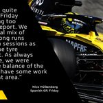 """🎙 """"The car didn't feel perfect today and we have some room for improvement looking ahead to tomorrow's qualifying.""""  Straightforward Friday for Nico 👇 Full report 👉 https://t.co/PD1ky2h71X  #RSspirit #SpanishGP"""