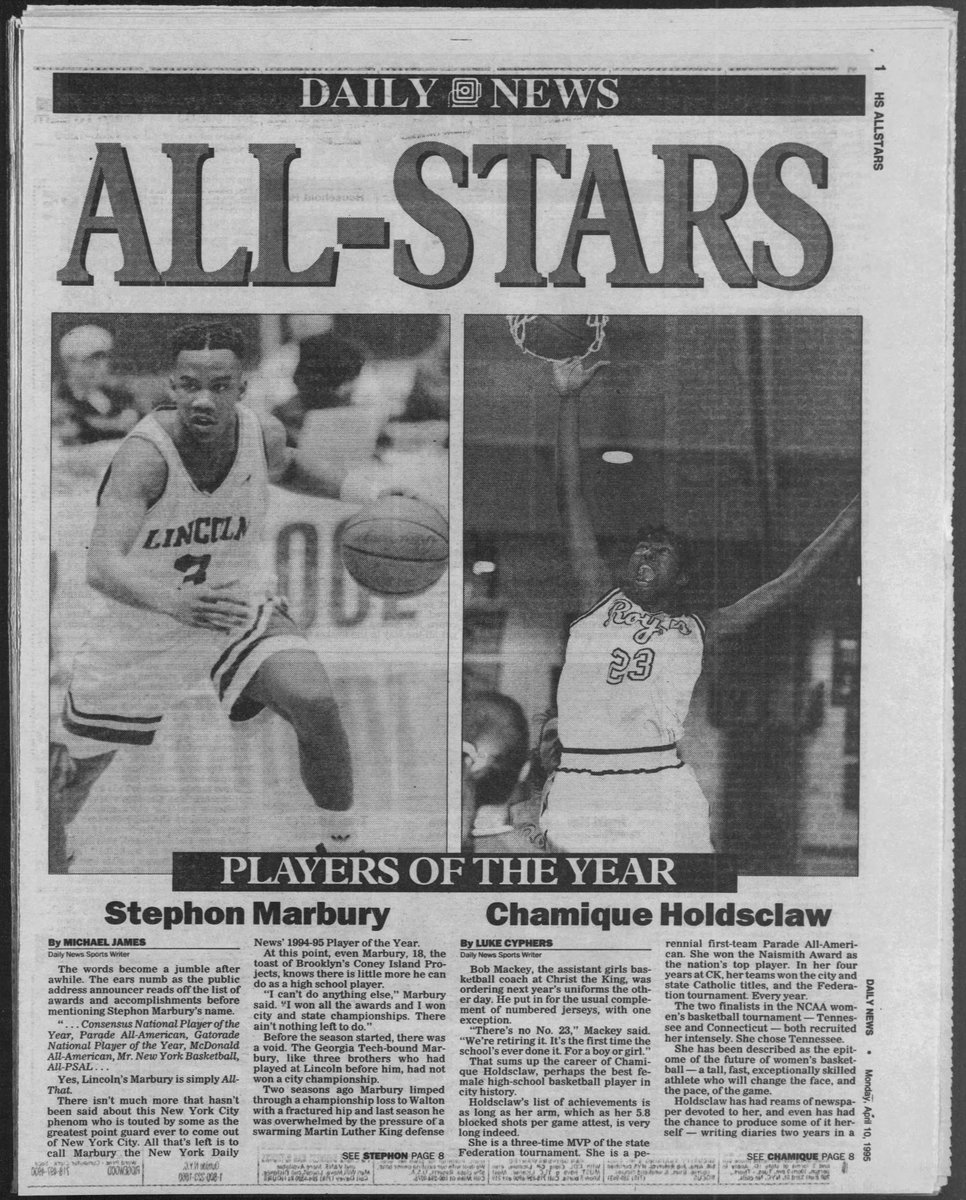#Flashback April 10th, 1995. Both @StarburyMarbury and @Chold1 had New York City and the nation on lock when they were in high school. It was only right that they were chosen as boys and girls Player of the Year during their senior year.