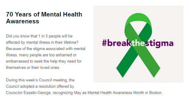 May is Mental Health Awareness Month! #breakthestigma #bospoli  Read more: https://bit.ly/2Jwr88o