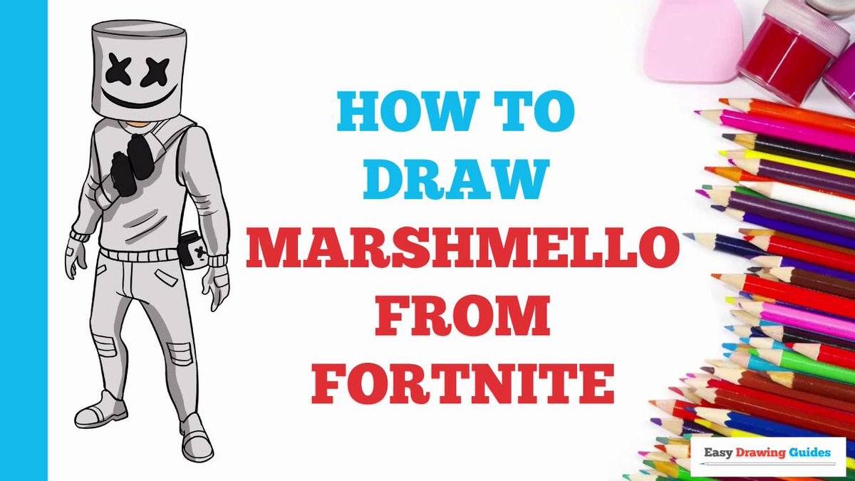 How to draw marshmello from fortnite easy to draw art project for kids see the full drawing tutorial on http bit ly 309r2jj