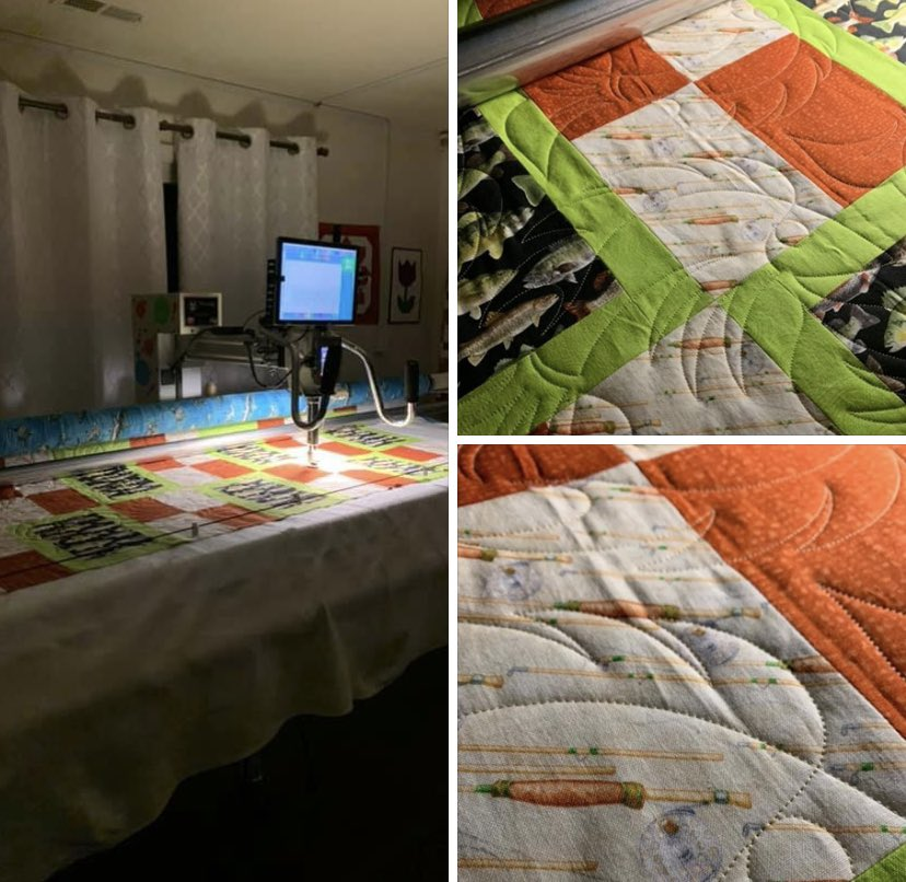 Some people enjoy a late night of fishing, for me last night was a late night of quilting fish! How cute is this quilt!? #fishquilt #quiltersoftwitter #edgetoedgequilting https://t.co/p1UwjhxVWL