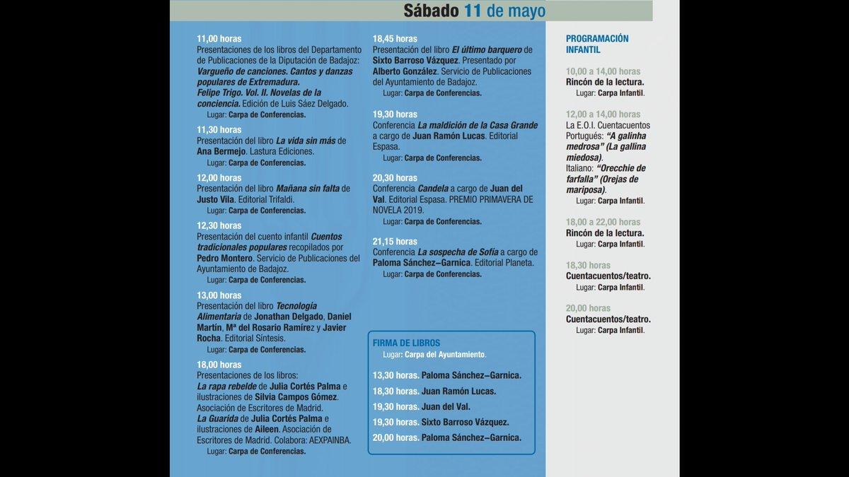#FERIADELLIBRO #38FLB  Programación sábado 11 de mayo @FLBadajoz #FLB2019 https://t.co/al41DgW4Qk