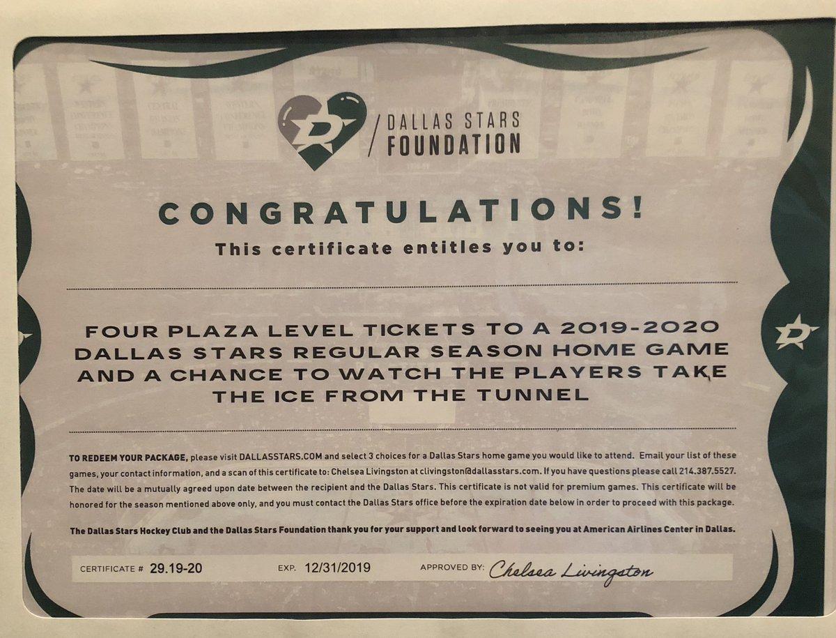 9b3132c94246 ... Dallas Stars Foundation  4 plaza level tickets