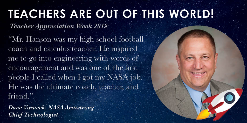 Teachers are out of this world!🚀 #TeacherAppreciationWeek is wrapping up, be sure to #ThankATeacher if you havent already & explore our aeronautics-themed STEM resources: go.nasa.gov/2PUkMR9