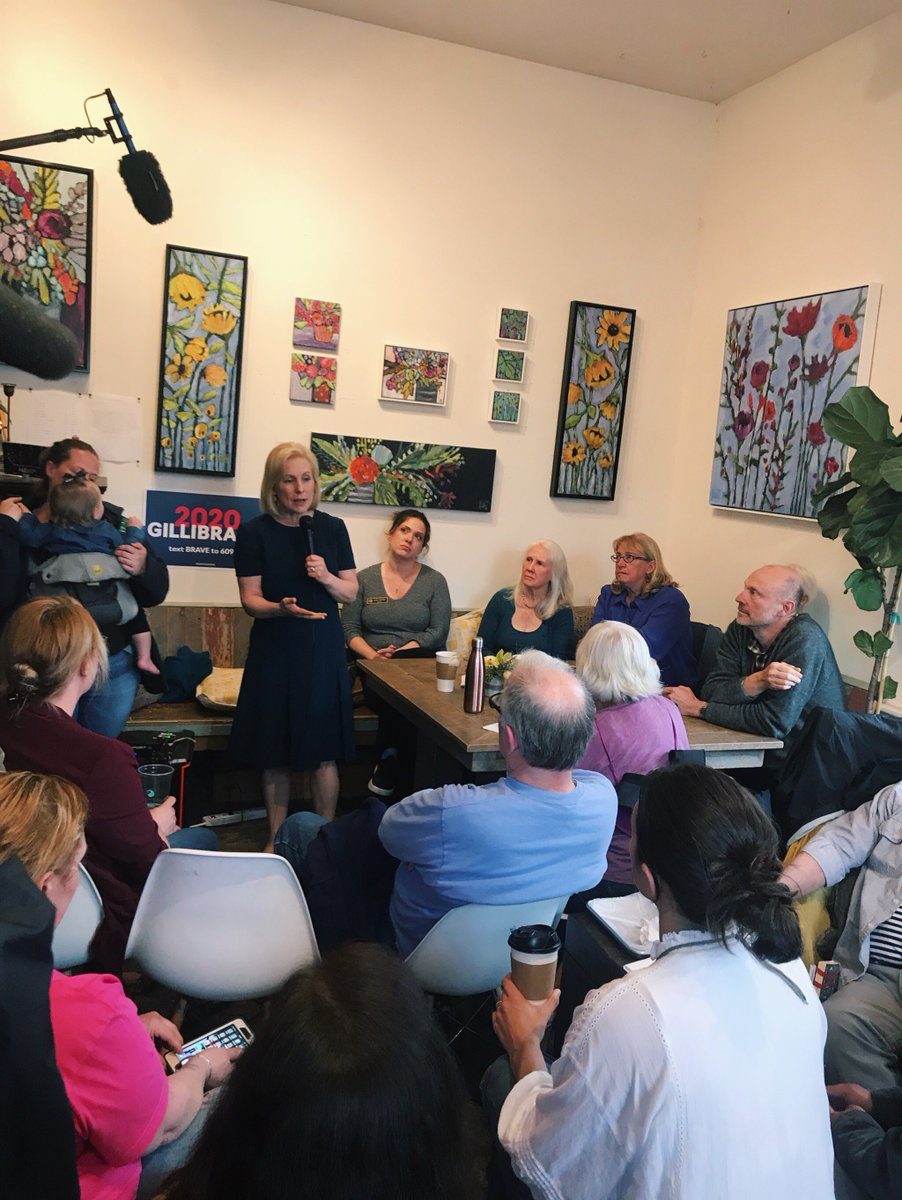 Kirsten Gillibrand speaks to a crowd of voters in Goffstown, New Hampshire.