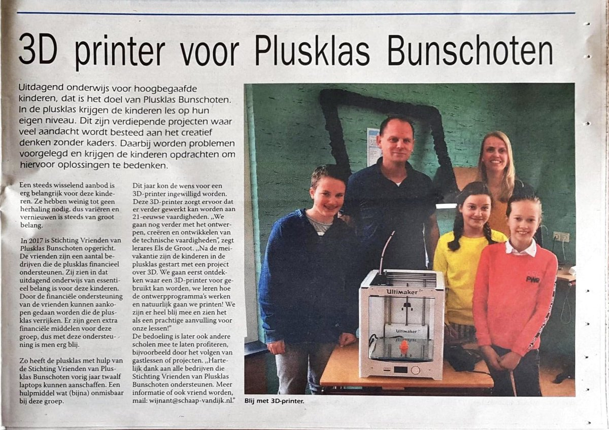 Image for the Tweet beginning: Superblij met onze 3D printer
