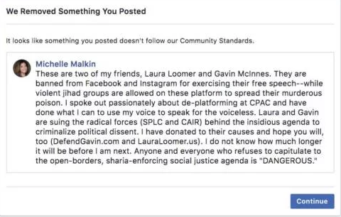 Facebook censored Michelle Malkin's post denouncing their censorship of conservatives.