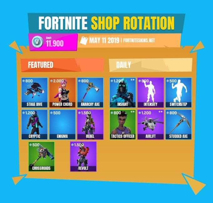 image for the tweet beginning fortnite item shop for may - datamined skins fortnite reddit
