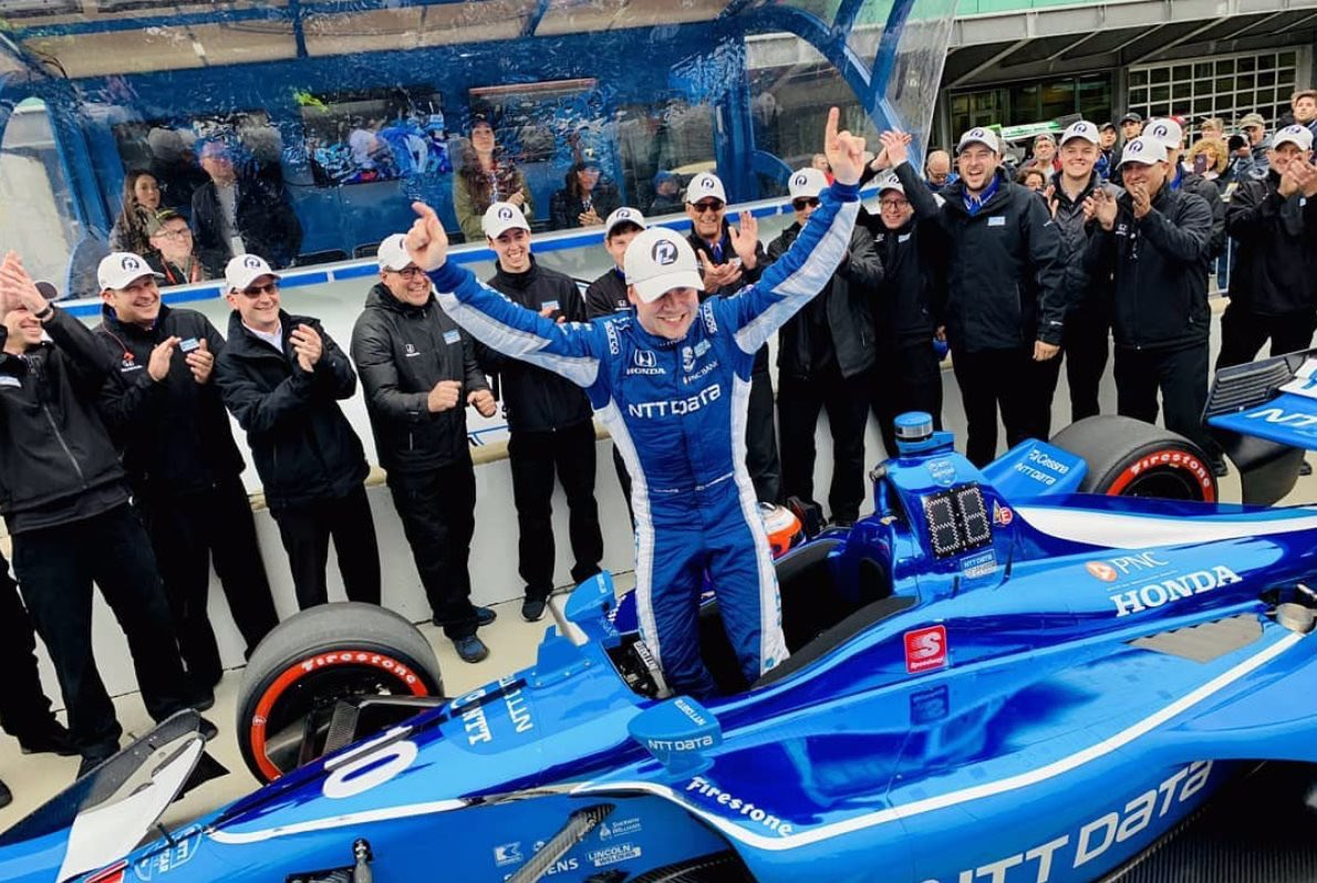 First Pole Position in @IndyCar 😎 One of the toughest qualifyings in a while, which makes is even better to come out first! Big congrats to @CGRTeams for locking out the front row and huuuge thanks to @HondaRacing_HPD @NTTDATAServices 👏🏻 Excited for tomorrow 👍🏽