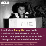 Image for the Tweet beginning: Maui-born Patsy Mink was a