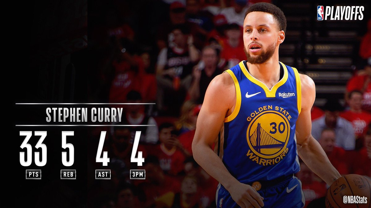 Steph Curry ERUPTS for 33 2nd half PTS as the @warriors advance!  GSW has a postseason record of 29-4 when Steph scores 30+ PTS.  This 87.9% win % is the highest in @NBAHistory among the 30 players with at least 20 career 30-point games in the playoffs.    #SAPStatLineOfTheNight <br>http://pic.twitter.com/A3SexZJiIX
