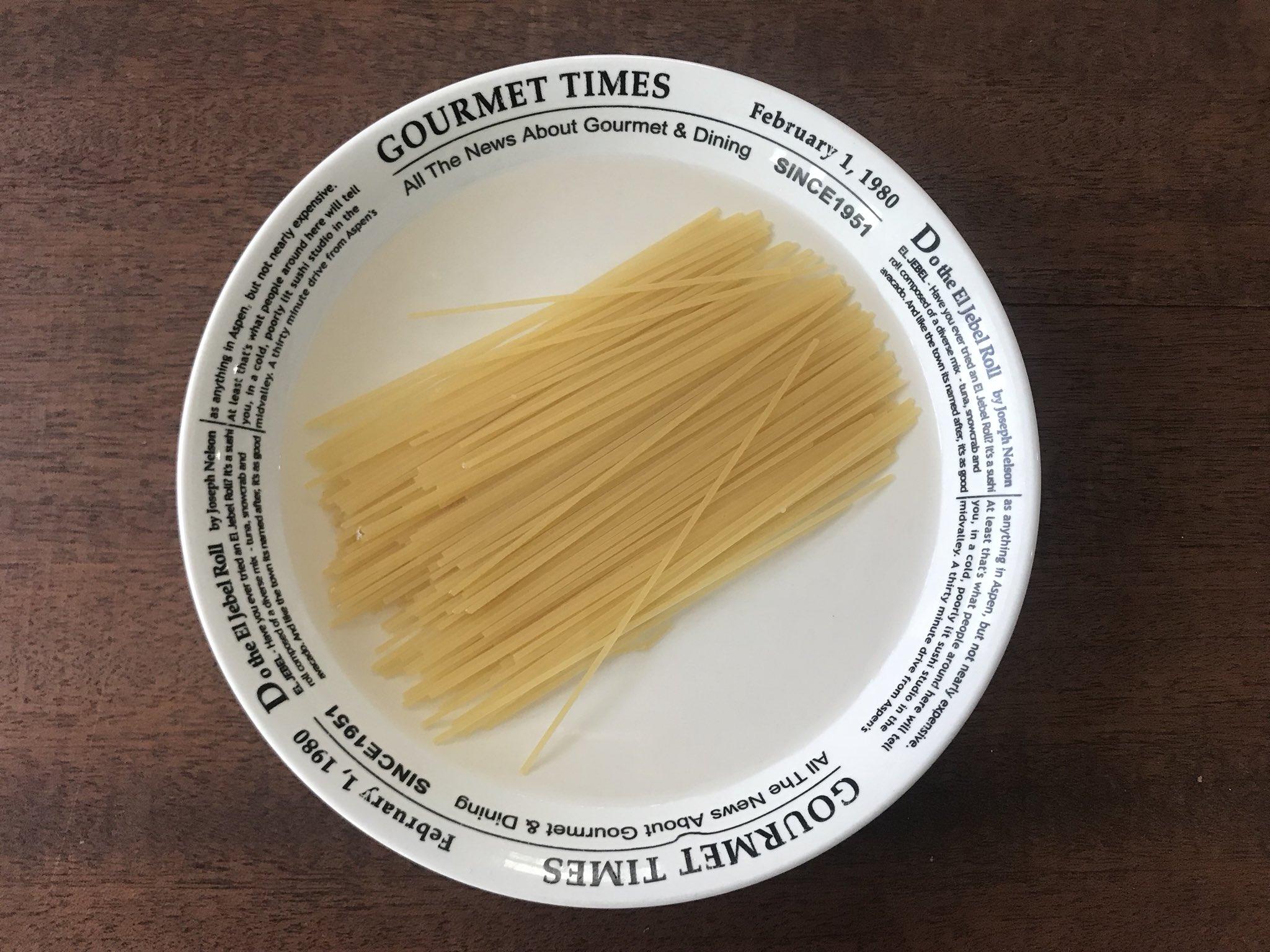 【スパゲティの最高に簡単な茹で方】 耐熱性の器に、半分に折ったパスタ(袋の表示茹で時間が5〜7分のもの)1束(100g)、水260ml、塩少々、オリーブ油かサラダ油小さじ1を入れ、ラップ無しで表示茹で時間+3分チン。 このまま市販のソースをかけたり味付けすればOK! ※器が熱いので注意! ↓