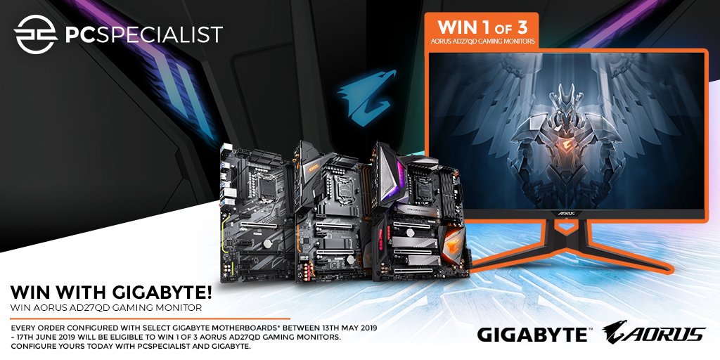 cheap for discount 767cc 60237 Every order purchased with select GIGABYTE Motherboards between 13th May -  17th June will be eligible to win 1 of 3 AORUS AD27QD Gaming Monitors.
