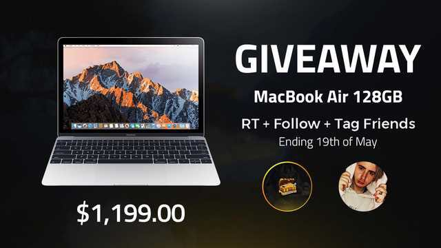 NEW INSANE GIVEAWAY!  MacBook Air : 1199$  Follow @Treasure x @NokSs_OW RT & Tag 2 friends  Ending 19th May ! GOOD LUCK 🥰