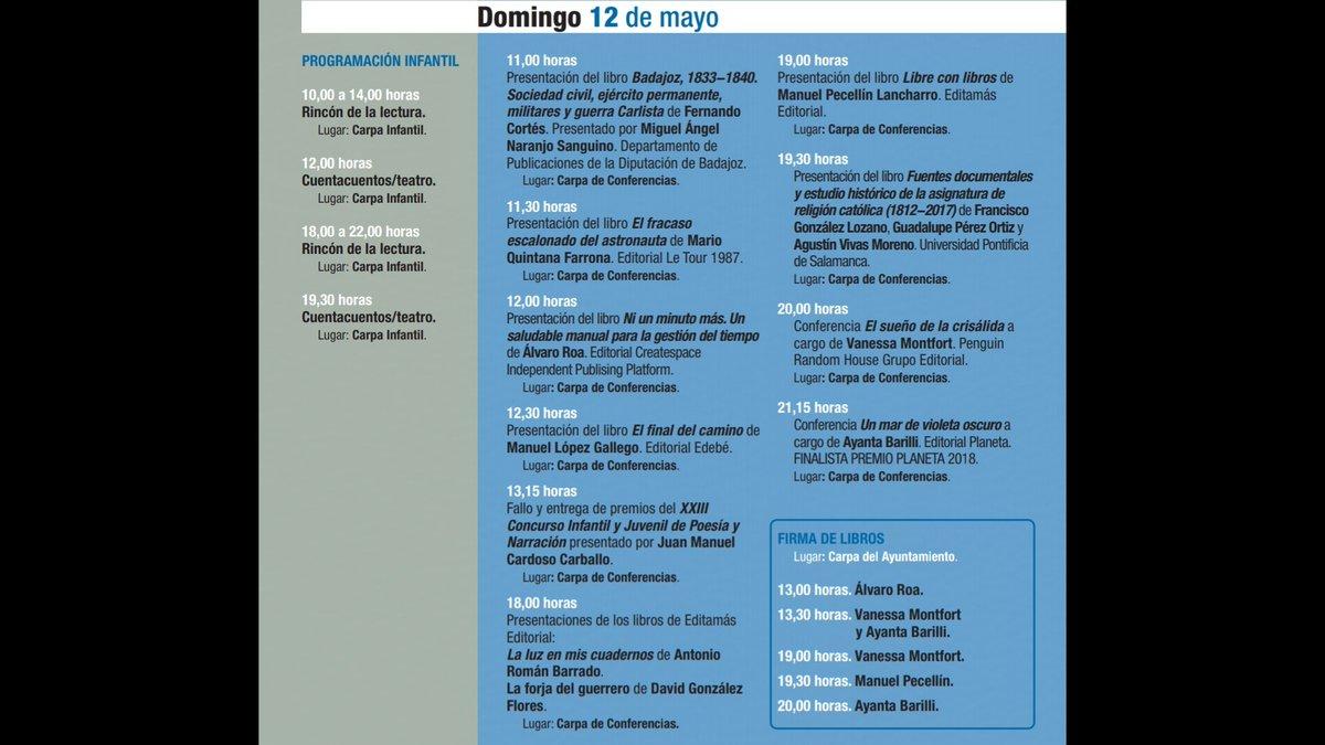 #FERIADELLIBRO Programación domingo 12 de mayo #FLB2019 #38FLB #Badajoz https://t.co/cjFSSt8Tqg