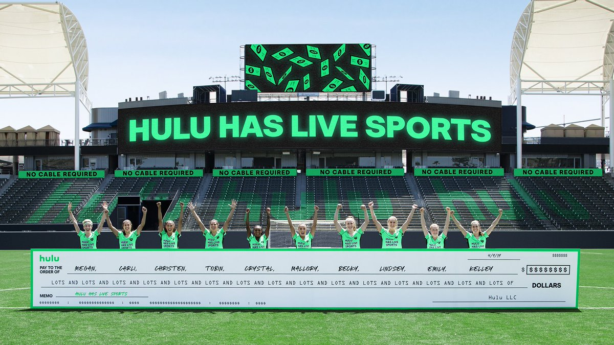 Hulu's paying us lots and lots and lots of dollars to tell you that #HuluHasLiveSports. Watch us in the World Cup this summer - live on @hulu! #TeamHuluSellouts #HuluSellouts #ad https://t.co/fxRaKEZ7y8