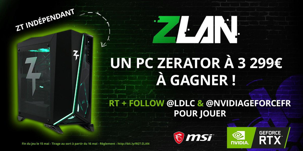 Concours #ZLAN 🎁  Un PC ZT Indépendant à 3299€ à gagner ! 💚 Spoil : la bête est propulsée par une NVIDIA GeForce RTX 2080 Ti 🔥🚀  👉 Pour participer Follow @LDLC et @NVIDIAGeForceFR + RT ce tweet  🎁 Le PC : http://bit.ly/JeuZLAN   TAS à partir du 16 mai 🎟  Bonne chance 🍀