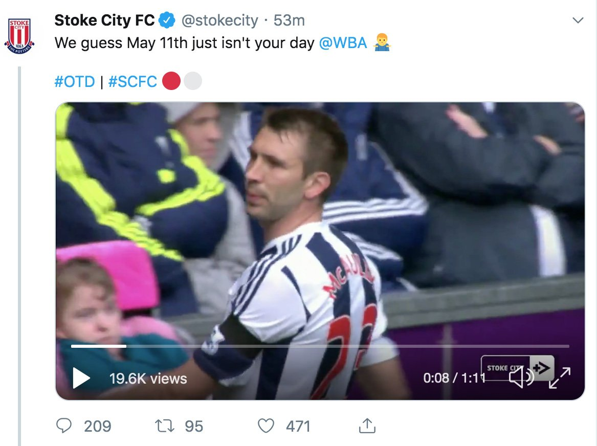 Ahhh, @stokecity.  A few reasons why it was wise to delete this tweet 🙃  1) You finished 16th. 2) We beat you twice this year. 3) You finished 25 points behind us. 4) Your season was over in Feb. 5) 46 games. Just 45 goals. 6) Again. You finished 16th.  Get back to the beach 🏖
