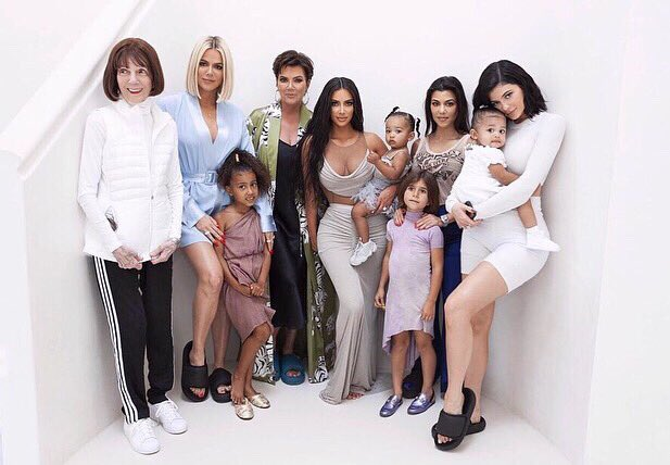 entire kardashian family posing in a picture
