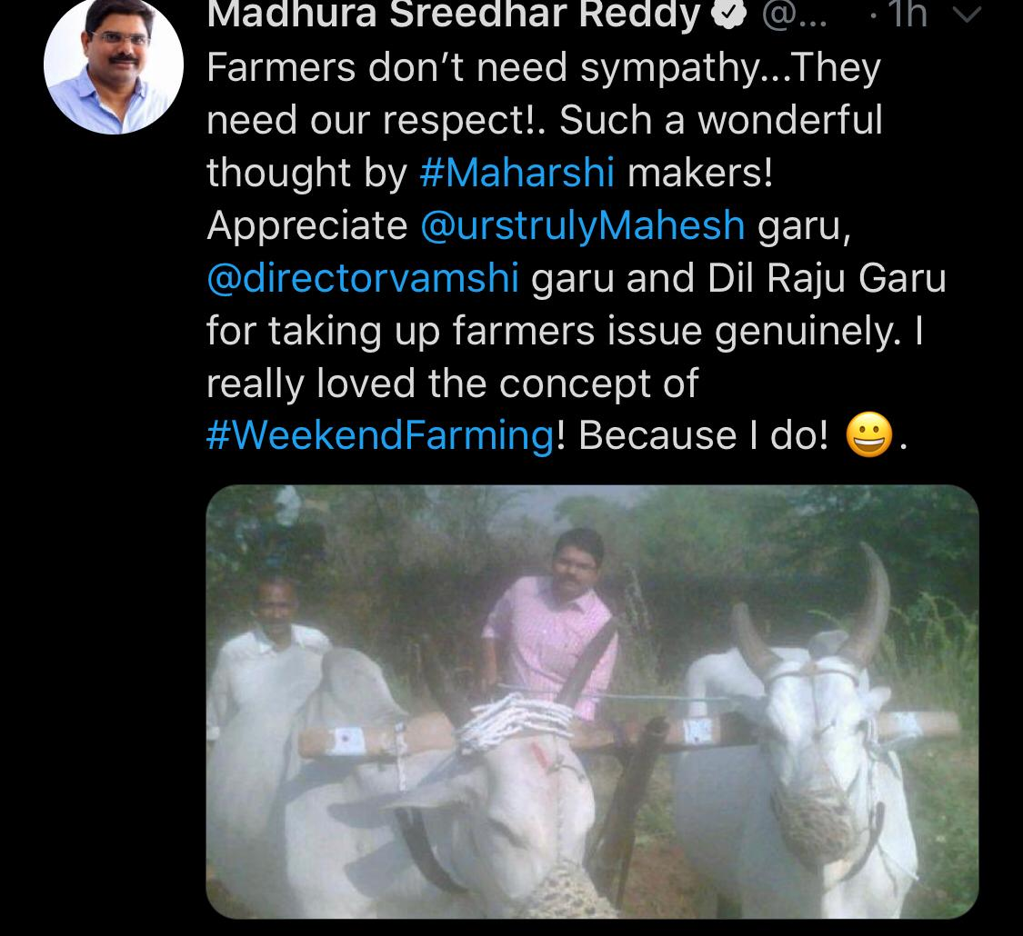 #Maharshi... Blockbusters are always special but when the motive of your film impacts & inspire lives the feeling is immeasurable... @directorvamshi 🙌 #AgricultureChallenge #FarmerIsKing