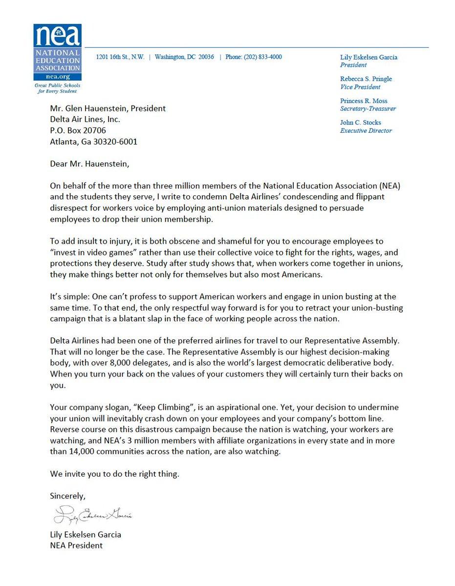 Nea President Sends Letter To Education >> Nea On Twitter We Won T Be Flying Delta Dobetterdelta