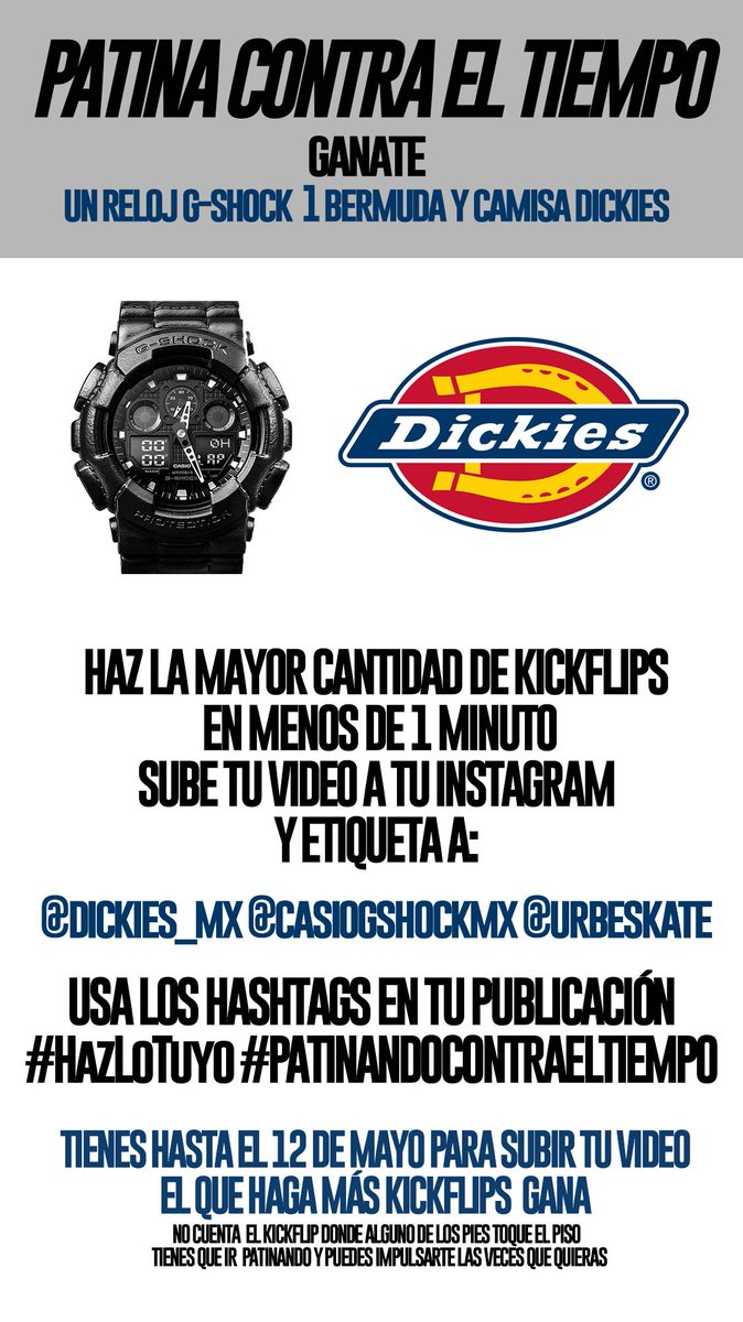 Gánate un #reloj @CasioGShockMX y prendas @Dickies_mx https://t.co/epl9YcBic0