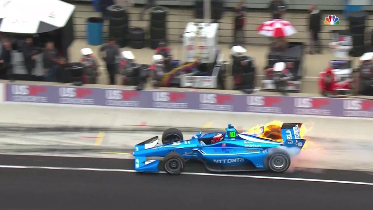 Pole sitter @FRosenqvist not having the 🔥 type of day he was hoping for halfway through the #INDYCARGP Watch LIVE on @nbc! #ThisIsMay | @INDYCAR