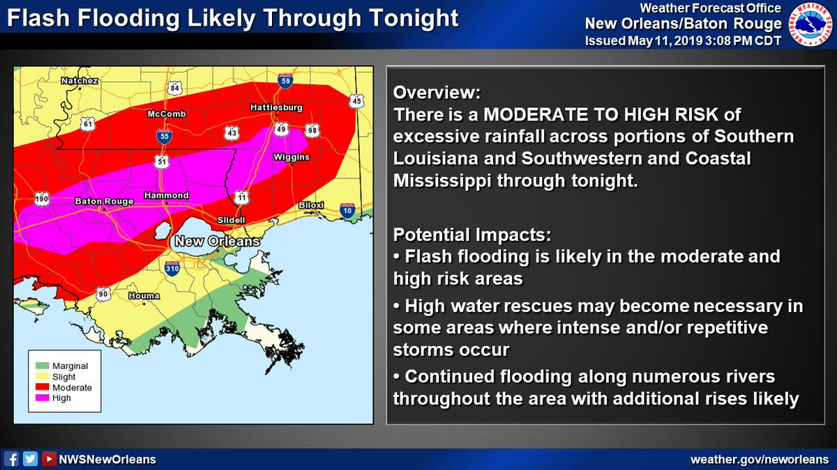 """New Orleans weather: National Weather Service warns of """"life-threatening"""" flash flooding today"""
